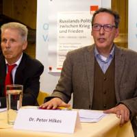 Günter Lenz und Peter Hilkes beim 27. Vaterstettener Friedensgespräch